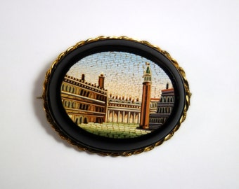 Antique Micro Mosaic Ancient Rome 14k Gold in Black Onyx Victorian WAS 1200 NOW 990