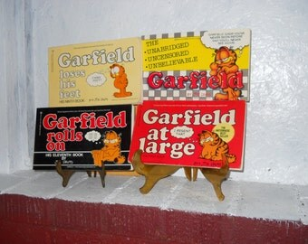 Garfield Books by Jim Davis 4 Softcover 1970's, 1980's. Set of 4. Vintage Garfield. Sarcastic Cat.