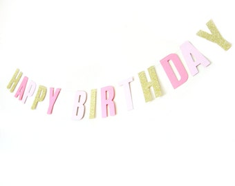 Happy Birthday Gold Glitter & Pink Shimmer Banner - Birthday Garland , Text Bunting, Birthday Banner, Happy Birthday Bunting