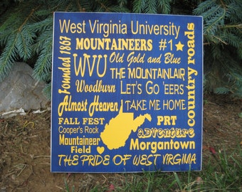 West Virginia University sign, WVU Mountaineers sign, Graduation gift, Subway art, Christmas gift