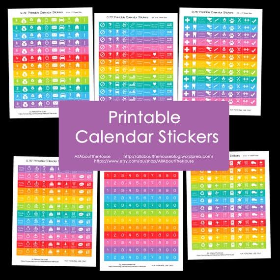 Planner Stickers Printable Daily Planner Calendar Rainbow Add