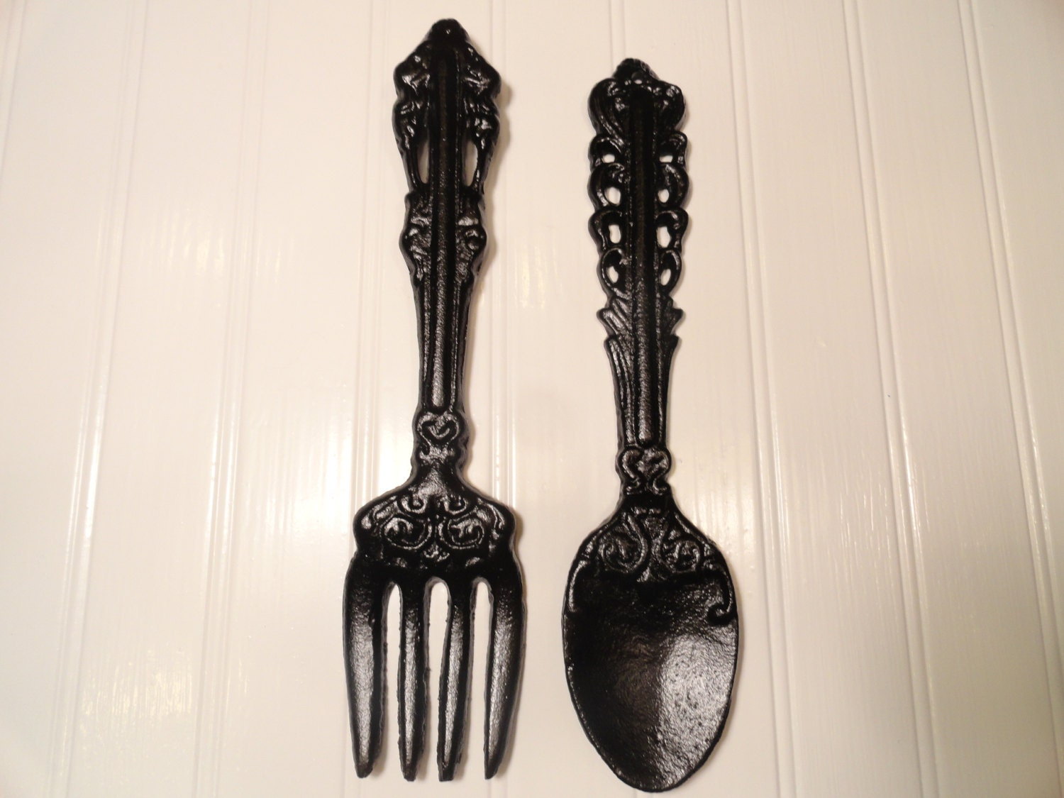 kitchen wall decor large fork spoon wall decor black by. Black Bedroom Furniture Sets. Home Design Ideas