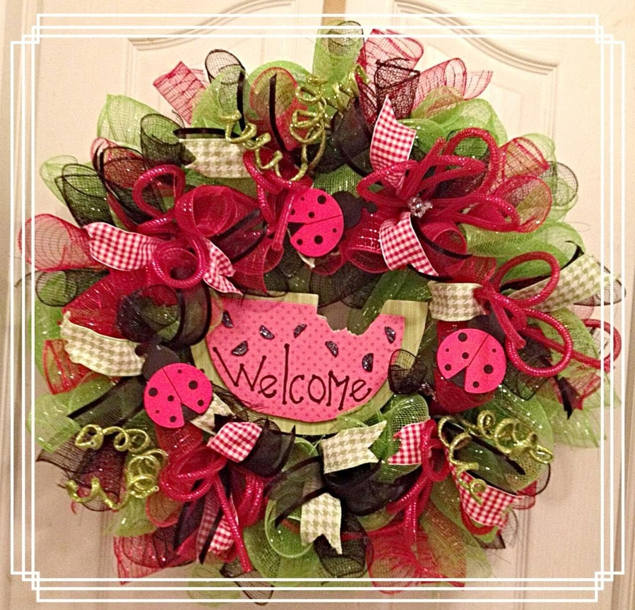 Watermelon deco mesh summer wreath summer deco by Making wreaths