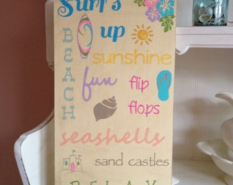 Beach Typography Sign, Summer Typography Sign, Beach Subway Sign, Summertime Typography/Subway Style Sign