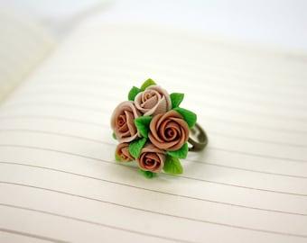 Beige rose Adjustable Ring, flowers ring, vintage ring , jewelry , bronze,rose, brown