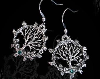 Handmade  tree of life earings, gothic jewelry, victorian jewelry, gothic earings, wicca, pagan earings, gaia earings yggdrasil