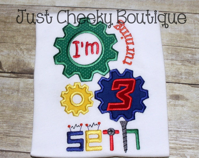 Robot Birthday Shirt - Robot Gears Embroidered Shirt - Boys Robot Shirt - Girls Robot Shirt - Gears Turning