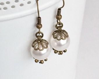 Swarovski White Crystal Pearl Victorian Rustic Bronze Earrings, Rustic Wedding Bridesmaids Gift E69