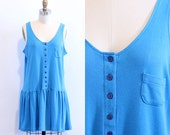 1980s Bright Blue Cotton Jersey Drop Waist Mini Dress Medium
