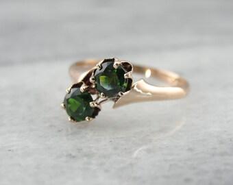 Antique Victorian Rose Gold Bypass Ring with Demantoid Garnets MALD7N-D
