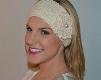Hand Knit Lamb's Wool and Acrylic Headband / Ear Warmer in Cream (Item #67)