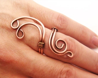 Wire Wrapped Adjustable Copper Ring - Handmade Copper Ring - Copper Jewelry - wire wrapped ring handmade