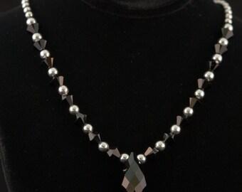 Necklace with Jet Black Swarovski Crystals