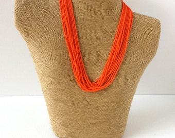 Orange necklace, bright orange necklace, statement necklace, boho necklace, beaded necklace, seed beads,bridesmaid necklace,autumn necklace