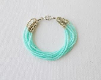 Mint and silver bracelet, seed bead bracelet, aqua bracelet, beaded bracelet,seed bead bracelet silver bracelet,multistrand mint bracelet