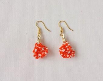Orange and pearl earrings, seed bead earring, small orange earrings, beaded earring, seed bead jewelry,knot earrings, bridesmaid gift