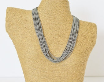 Mouse grey necklace, stone grey statement necklace, charcoal bridesmaid necklace,seed bead multistrand,beaded necklace,titanium necklace