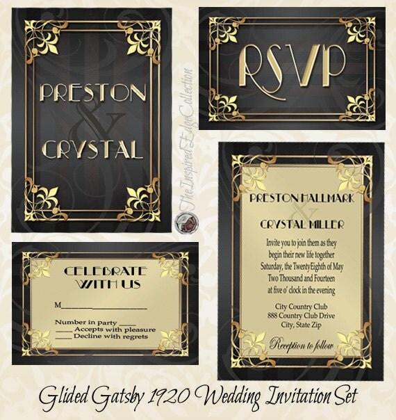 Great Gatsby Wedding Invites: Gilded Gatsby 1920 Invitation Gatsby Wedding Roaring