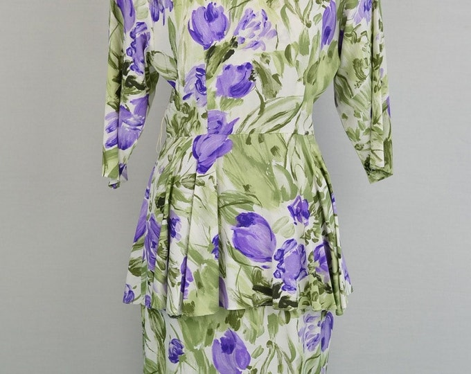Vintage lavender and green floral print dress // 1980s does 1940s style // Peplum Dress Size Small
