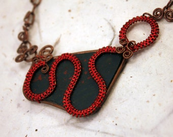 Bloodstone necklace wrapped with cooper and red wire