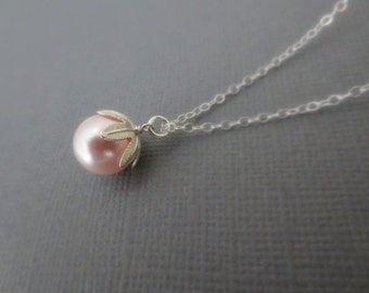 Swarovski Crystal Pearl Necklace in STERLING SILVER CHAIN--Pink Pearl Necklace--Perfect Gift for mom for friends, Birthday Present for her.