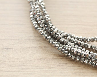 Electroplate Glass Beads - 100 pcs of Silver Plated Faceted Glass Crystal Rondelle Beads Loose Beads - 2.5 x 2 mm