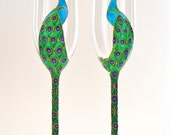 Pair of Peacock long stemmed champagne flutes