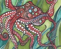 Red OCTOPUS 5 x 7 print of stunning octopus in a sea of grass green kelp, olive turquoise crimson rust, jellyfish arms, ocean sea marine