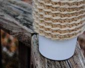 Cream Crochet Coffee Cozy