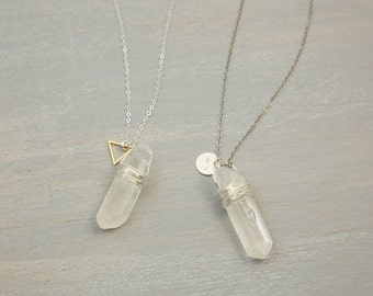 Crystal stone necklace pendant necklace natural crystal raw quartz crystal point with sterling silver tag or triangle charm personalized stamped tag aloadofball Image collections