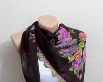 brown scarf floral print scarf oya scarf boho scarf brown shawls turkish scarf