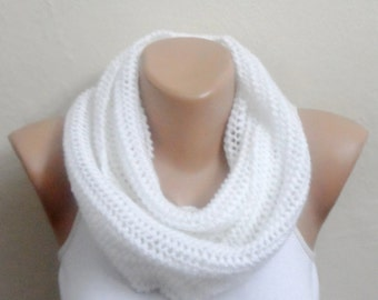 white knit infinity scarf white circle scarf loop scarf winter scarf fashion scarves woman scarf gift for her