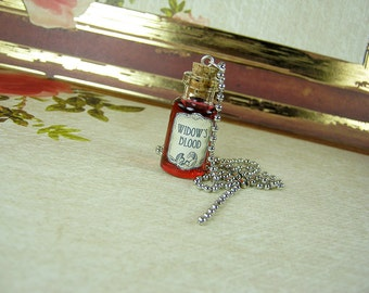 Widow's Blood GAME OF THRONES 2ml Glass Bottle Necklace Charm - Cork Vial Pendant - Westeros Song Ice Fire Poison