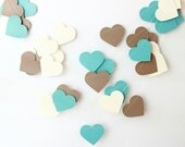 Wedding Garland, Kraft, Teal, Cream Paper Garland, Rustic Wedding, Bridal Shower, Baby Shower, Country Wedding, Heart Garland, Paper Hearts