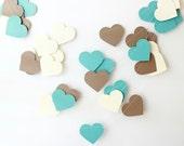 Wedding Garland, Kraft, Teal, Cream Paper Garland, Rustic Wedding, Bridal Shower, Baby Shower, Country Wedding, Heart Garland, Paper Hearts