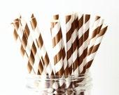 Brown Party Straws, Brown Paper Straws 25, Rustic Wedding Decor, Stripe Paper Straws, Mason Jar Straws, Woodland Baby Shower, Bridal Shower