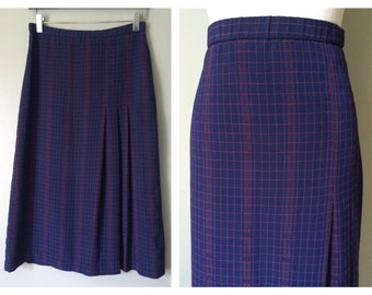 Vintage Plaid Secretary Skirt Navy Blue and Red Side Pleated Skirt Silky Nylon Skirt Young Professional Dress Skirt Size 6 8 10 Medium Large