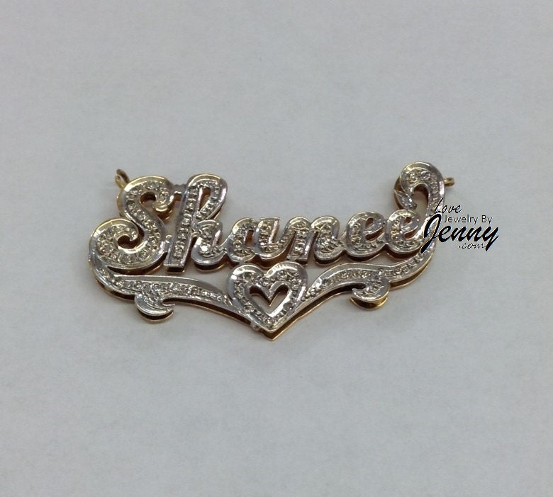 14K Gold Overlay 3D Gold Double Name Plate/PERSONALIZED/ free Name Plate Earrings