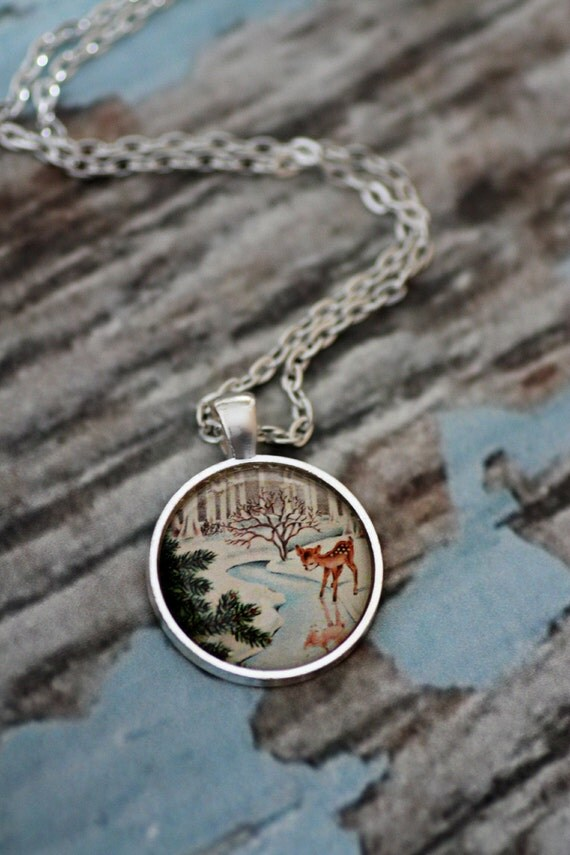 FREE SHIPPING Vintage Winter Deer glass necklace. Available in silver or bronze.