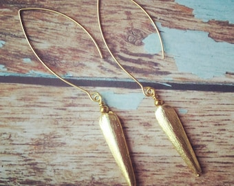 Gold Spike earrings. Gold drop earrings. Glamour earrings