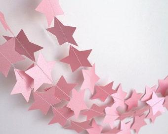 Pink Star Garland, Paper Star Garland, Birthday Party, Wedding Garland, Bridal Shower Decor, Photo Prop, Romantic Garland
