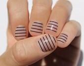Black Stripes Transparent Nail Wraps
