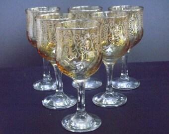 Vintage, Set of six wine glasses
