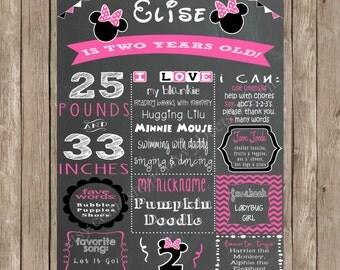 Minnie Mouse Birthday Sign Printable - Chalkboard Minnie Mouse Printable Birthday Sign - DIY Printable
