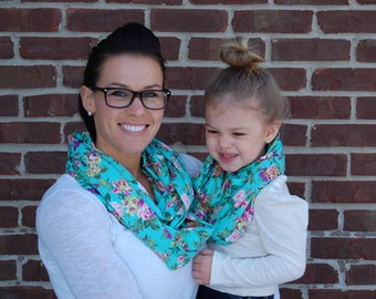 aqua floral mother daughter infinit y scarf set 32 00 usd  Mother Mother Mother And Daughter Scarf Sets