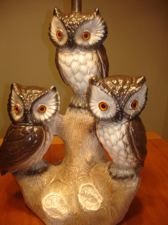 Vintage 3 Owl Lamp VERY HEAVY and LARGE Chalkware and Lucite Eyes - Kitschy