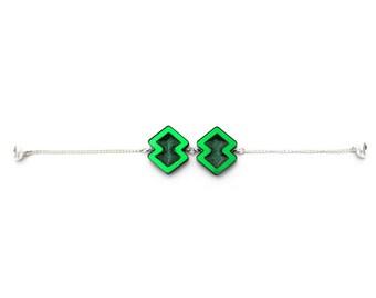 Green Glitter Resin Geometric Bracelet
