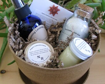 Gift Basket Organic Bath and Body ('planted' in a natural eco-planter). Ships USPS Priority!