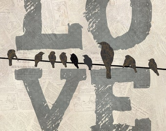 MA-Mom  All You Need is LOVE..and your MOM with bird silhouettes by Marla Rae