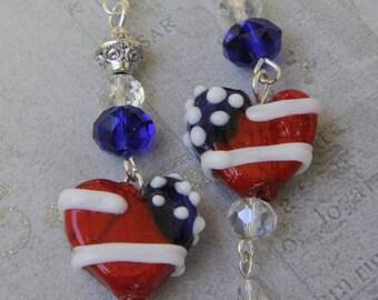 Patriotic earrings. Red white  blue earrings. American flag earrings. Stars and Stripes earrings. 4th of July earrings. Heart earrings.